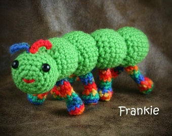 Frankie Caterpillar - crochet, green and rainbow stuffed caterpillar
