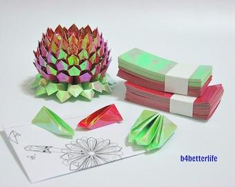 A size Medium Red Color Origami Lotus plus 300 sheets of DIY Paper Folding Kit. (AV Paper Series).