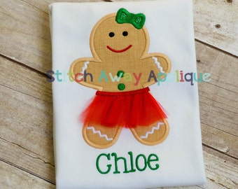 Christmas Tutu Gingerbread Girl Machine Embroidery Applique Design