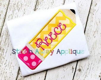 School Pencil Machine Applique Design