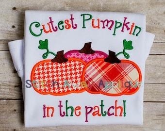 Cutest Pumpkin in the Patch Machine Applique Design