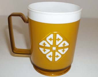Vintage Gold Colored Plastic Snowflake Coffee Cup 1970's