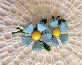 Vintage Blue, Yellow and Green Brooch