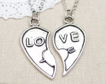 His and Hers Jewelry, matching necklaces for couples, friends,  LOVE heart jewelry, puzzle heart, key and lock necklace, COUPLE necklace