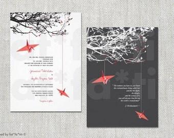 Printable Hanging Paper Cranes On Tree Branches Wedding Invitation   Custom Modern Stylish Simple Wedding Invite PRINTED CARDS / jpg / pdf