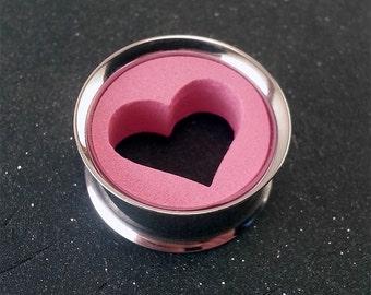 "Pink Heart Valentines Plugs Steel Tunnel - 00g 11mm - 1/2"" 12mm - 9/16"" 14mm - 5/8"" 15mm - 3/4"" 19mm - 7/8"" 22mm - 1"" 25mm  - 1 3/16"" 30mm"