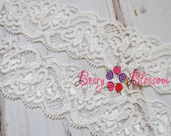 "1.5"" White Lace - Stretch Lace Trim - Wedding Garter Bridal Laces - YY 1.5 inch lace"