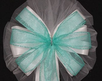 Aqua Sparkle White Wedding Pew Bows - Wedding Ceremony Bows, Wedding Church Bows, Wedding Decorations