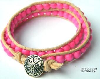 Vibrant hot pink leather wrap bracelet