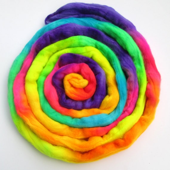 Hand dyed Merino Wool Roving, Combed Top -- Radioactive Rainbow -- 100% Merino spinning fiber, Felting Fiber, Felting wool