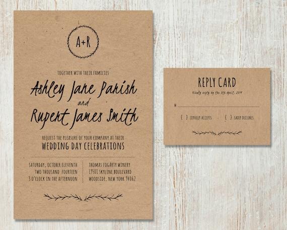 Diy Paper Wedding Invitation: Rustic Wedding Invitation DIY Kraft Paper Invitation Country