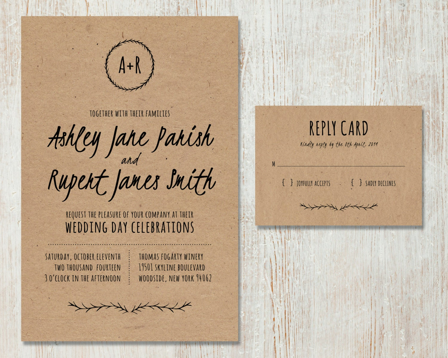 rustic wedding invitation diy kraft paper invitation country, Wedding invitations