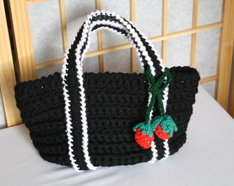 Hand Crocheted Bag Black with Strawberries