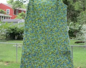 vintage green floral jumper feed sack dress 2 pockets