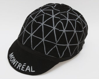 Cycling cap Montréal black / 4 panels / silkscreen