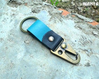 Leather keychain, leather key fob, keyring with trigger hook, WR 086