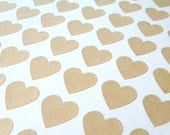 """108 Kraft Brown Mini Heart Stickers, 3/4"""" Heart, Scrapbook Supply, Gift Wrapping, Favor Bag Stickers, Rustic"""