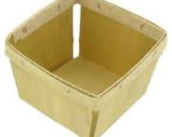 6 Small Wood Berry Baskets, PINT SIZE, Berry Till, Wooden Basket, Wedding Favor Basket, Farm Theme Party Favor, Spring Favor Basket