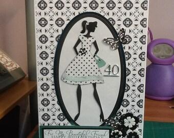 Elegant lady birthday card