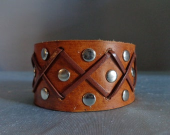 Leather Cuff by Artrix Leather and Fine art - Rivets and Lace Cuff