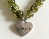 Green Crackle Glass Beaded Bracelet with Love Charm