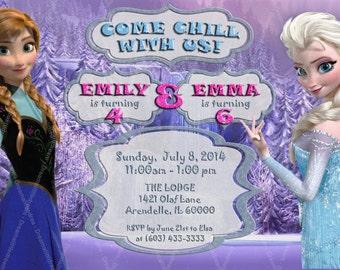 Disney Frozen Sisters Birthday Party Printable Invitation