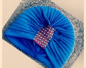 Tribal Print embellished Royal Blue Turban