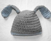 BABY BUNNY HAT...Handmade, crocheted baby hat....Grey and Blue...Super soft.