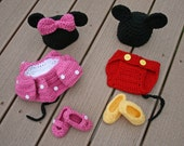 Made to Order/Newborn Twin Set Photo Prop or Individual/Diaper Cover/Disney Mickey/Minnie Inspired Mouse Costume/Baby Shower/JoellaCrochet