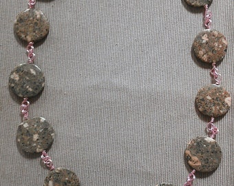 greystone: hand wrapped pink & grey granite beads; pink colored copper wire