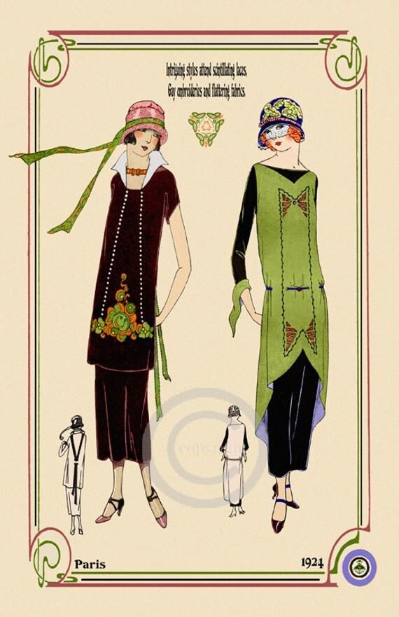 Art Deco Fashion Print Flapper Ladies In Vintage Dresses
