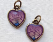 RESERVED for Catherynne A Pair of Baby Hand Painted Bubble Effect Heart Charms, Artisan Resin Filled Antique Bronze Base With Matching Back