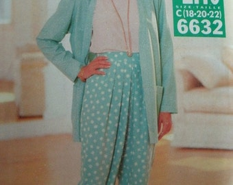 Misses Misses Petite Jacket, Top and Pants Size 18-20-22 See & Sew by Butterick Pattern 6632 Vintage 1993 UNCUT Pattern  Very EASY to Sew