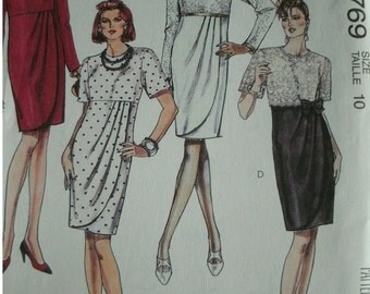 Misses Empire Style Dress Size 10 McCalls Pattern 5769 Rated EASY - UNCUT Pattern 1992