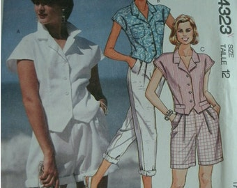 Misses Top, Pants and Shorts Size 12  McCalls Pattern 4323 UNCUT Pattern Easy to Sew Dated 1989