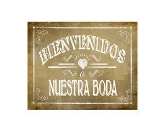 Printable Bienvenidos a Nuestra Boda Spanish Wedding sign - instant download digital file - DIY - Vintage Heart Collection