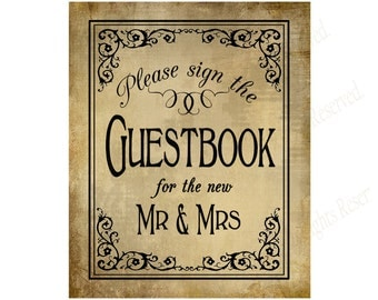 Wedding Please sign the Guestbook of the new Mr & Mrs sign - Vintage Black Tie design