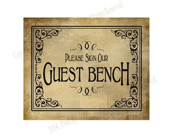 PRINTABLE Please sign our GUEST BENCH Wedding sign - Diy instant download - Vintage Black Tie design