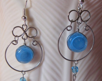 Blue Round Murano Glass Peruvian Earrings Silver Wirework Jewelry French Wire Hooks Added