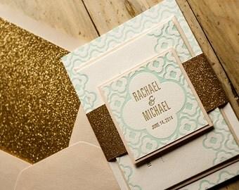 Peach, Mint & Gold Glitter Letterpress Wedding Invitation, Mint Wedding Invite, Moroccan-tile Invitation, Peach Invitation - Sample Set