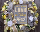 Spring - Summer Wreath, Deco Mesh Wreath, Trust in The Lord