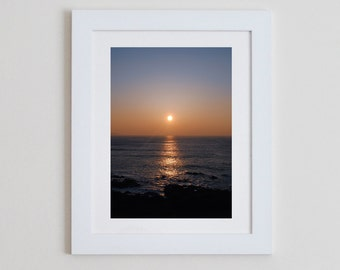 Sunset, Godrevy - sea ocean photography orange blue waves surf coast print romantic beach home decor nautical cornwall
