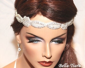 SUMMER SPECIAL, beaded wedding headpiece, ribbon bridal headband, wedding headband, wedding hair piece, bridal headpiece