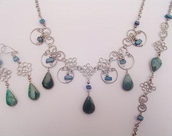 Green Turquoise Teardrop Diamonds Design Earrings, Necklace, Bracelet Set Peruvian Jewelry- Handmade in Peru