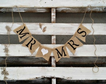 Mr. and Mrs. Burlap Banner, Rustic Wedding Decor, Burlap Wedding Banner, Wedding Photo Prop
