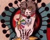 Sugar Skull Neko Kitty Lights Pin