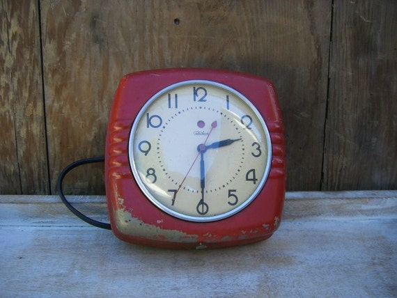 Vintage Art Deco Telechron Wall Clock Red 30 S Works
