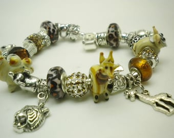 Popular items for animal charms on etsy - Safari murano jewelry ...