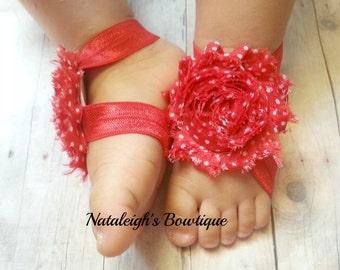 Red Polka Dot Barefoot Sandals - Orange Accessories - Baby Sandals - Shabby Rose Sandal - Barefoot Sandals - Photo Props - Polka Dot Sandals