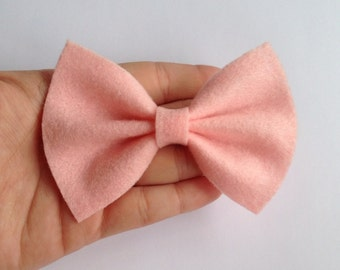 Pink Felt Hair Bow on Alligator Clip - 4 Inches Wide